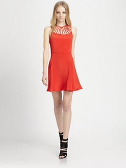 Parker - Sarah Lattice-Trim Silk Dress