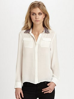 Parker - Maeve Silk & Sequin Split-Back Shirt