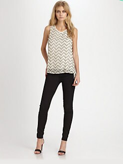 Parker - Fern Beaded Cutout Top