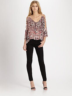 Parker - Nutmeg Silk Cutout Top