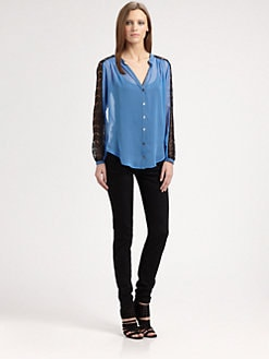 Red Haute - Lace-Trim Colorblock Shirt