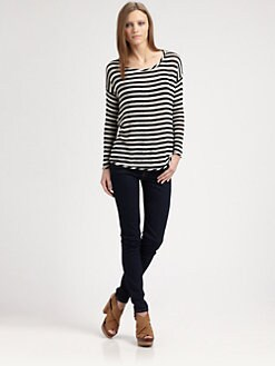 Red Haute - Striped Split-Back Sweater