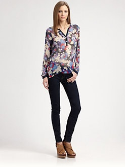 Red Haute - Silk Hi-Lo Henley Blouse