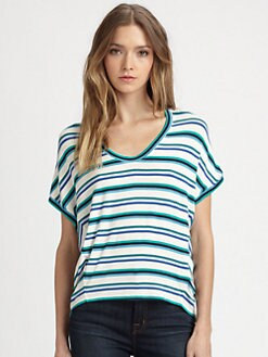 Red Haute - Striped Dolman-Sleeved Top