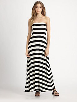 Red Haute - Striped Strapless Maxi Dress