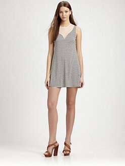 AIKO - Odiele Striped Mesh-Trim Dress