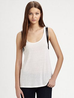 AIKO - Quek Leather-Trim Slub Tank