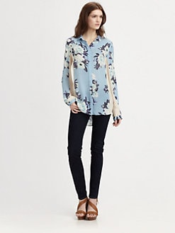 Jeunesse - Delphine Floral Silk Boyfriend Shirt