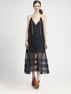 tba (to be adored) - Silk Chiffon Dot-Print Midi Dress