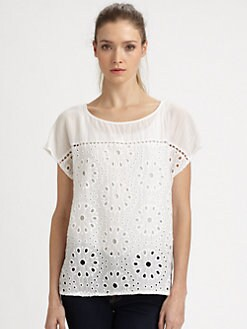 Ella Moss - Heidi Cotton/Silk Eyelet Top