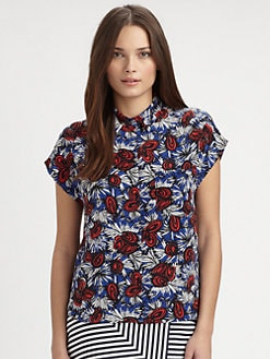Whit - Coconut-Print Silk Top
