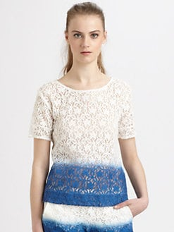 Wren - Dip-Dyed Cotton Lace T-Shirt