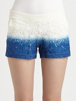 Wren - Dip-Dyed Cotton Lace Shorts