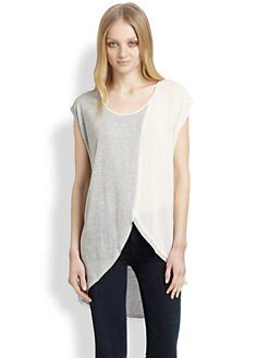 ADDISON - Bowery Draped Mixed-Media Top