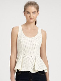 ADDISON - Moore Cotton Eyelet Peplum Top
