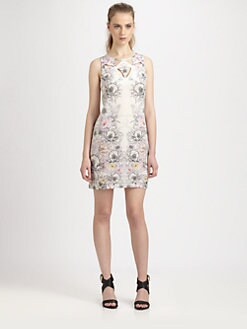 Something Else - Floral Mirage Cutout Silk Dress