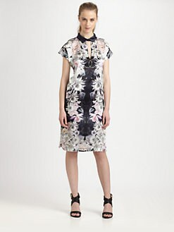 Something Else - Floral Mirage Silk Keyhole Dress