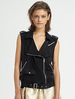 The Man Repeller x PJK - Flynn Silk Moto Vest