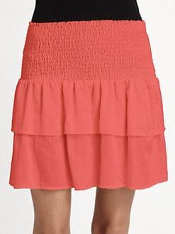 The Man Repeller x PJK - Rene Smocked Ruffle Skirt