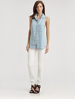 Bella Dahl - Sleeveless Split-Back Denim Shirt