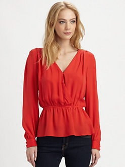 Parker - Getty Faux-Wrap Silk Blouse