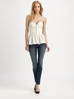 Parker - Marilyn Leather & Silk Bustier Top