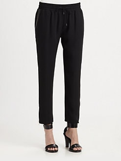 Parker - Bowery Leather-Trim Drawstring Pants
