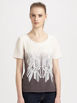 ADDISON - Wareen Beaded Silk Ombre Top