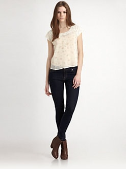 Beyond Vintage - Floral Lace-Back Top