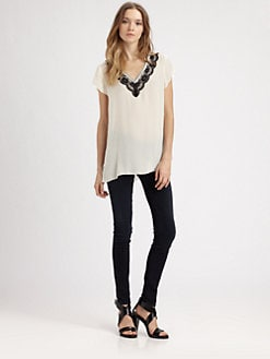 Beyond Vintage - Lace-Trim Silk Top