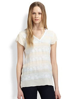 Beyond Vintage - Lace-Trimmed Silk Tee