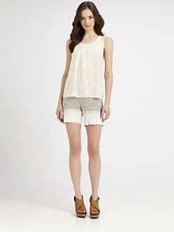 Clu - Embroidered Chiffon Top