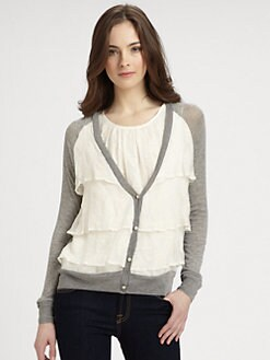 Clu - Ruffle-Trim Jersey Cardigan