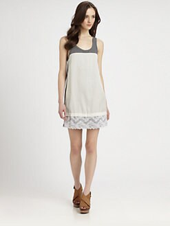 Clu - Chiffon-Trim Jersey Tankdress