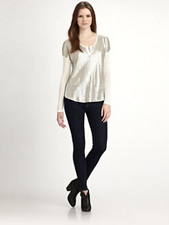 Generation Love - Metallic-Panel Henley Top
