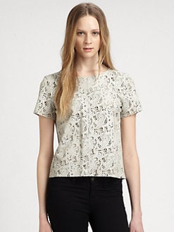 PJK Patterson J. Kincaid - Raen Laser-Cut Leather & Jersey Top