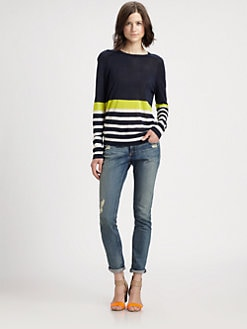 Equipment - Sloane Harbour-Stripe Silk Sweater