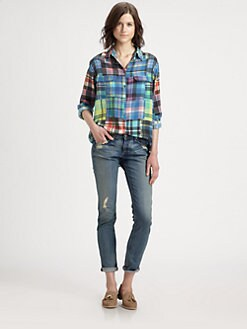 Equipment - Helio Silk Mixed-Plaid Shirt