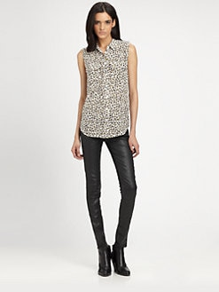 Equipment - Slim Signature Sleeveless Silk Shirt