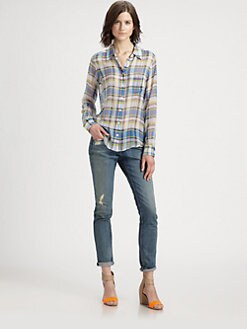 Equipment - Brett Shadow Play Silk Shirt