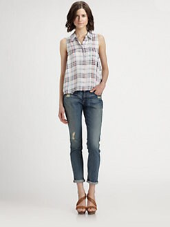 Equipment - Mina Silk Plaid Shirt