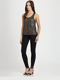 PJK Patterson J. Kincaid - Rosewater Laser-Cut Leather & Jersey Tank