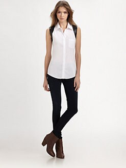 Bailey 44 - Faux Leather-Trimmed Sleeveless Shirt