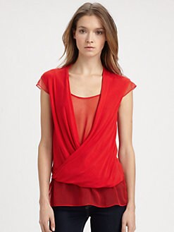 Bailey 44 - Silk Chiffon-Underlay Draped Top