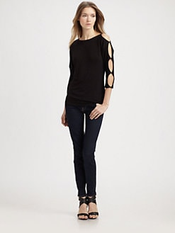 Bailey 44 - Cutout-Sleeve Stretch-Jersey Top