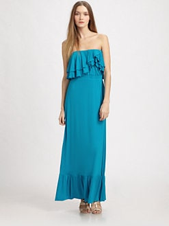 T-bags Los Angeles - Strapless Ruffled Maxi Dress