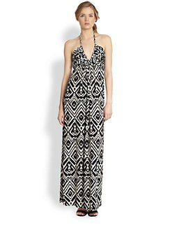 T-bags Los Angeles - Tribal-Inspired Printed Halter Maxi Dress