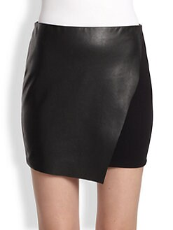 Bailey 44 - Faux Leather & Stretch Jersey Wrap-Effect Skirt