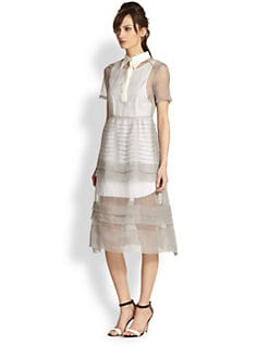 tba (to be adored) - Silk Organza Sheer Check-Print Pintucked Dress