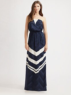 ADDISON - Chevron Strapless Maxi Dress